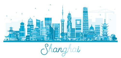 Shanghai China City Skyline with Blue Buildings Isolated on White.