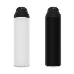 Realistic bottle of shaving foam in vector on white background.