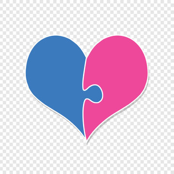 Pink And Blue Heart Assembled Of Two Puzzle Pieces
