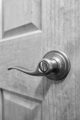Bronze handle on wooden door