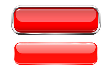 Red glass buttons. Web 3d shiny rectangle icons