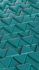 Triangles. Puzzle. Mint color. Smartphone desktop wallpaper. Art concept. 3D rendering.