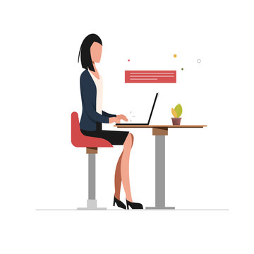 Business woman using laptop character. Social media infographic. Communication people with smart device.