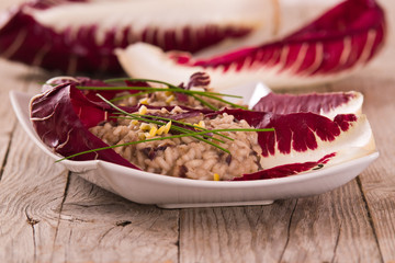 Risotto with red radicchio.