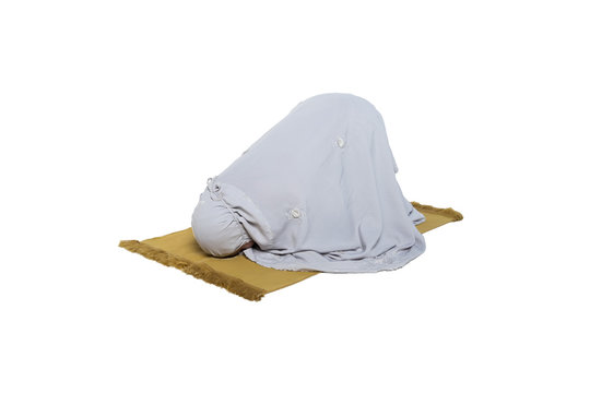 muslimah woman doing prayer isolated in white