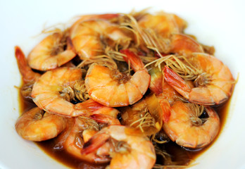 stir fry prawn with oyster sauce