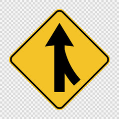 symbol  Lanes merging right sign on transparent background