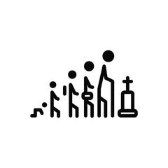 Black line icon for life age person