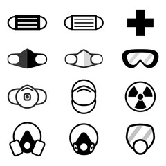 Various types of dust mask n95 icons