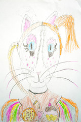 Cat colored drawing drawn by a child