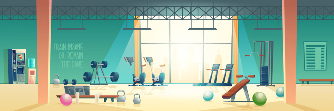 City sport club empty interior cartoon vector. Various fitness equipment and machines for body workout and exercises with weights in spacious gym illustration. Active and healthy lifestyle background