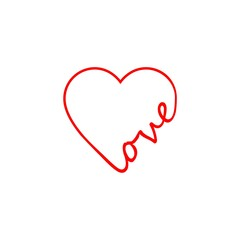 Illustration of the word love, icon or logo
