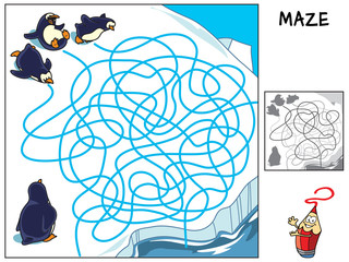 Funny penguins. Educational maze game for children. Cartoon vector illustration