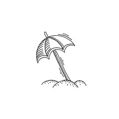 parasol on the beach in the sand sketch drawing icon
