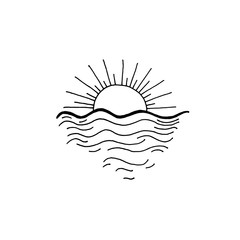 sunset in the ocean sketch drawing icon