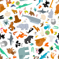 Animals set pattern seamless. Beast collection background. cute cartoon animal texture.jungle and forest Wild nature. Fauna of Different Continents