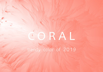 Coral trendy color of 2019. Gradient luxury abstract background. Modern texture for layout, banner, poster, flyer, card, web design. Vector eps10.