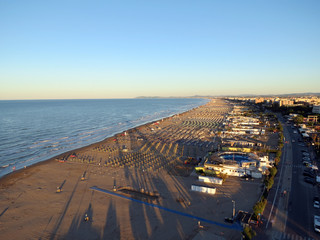 Endless beaches on the Adriatic coast, Rimini,  Italy, Europe.