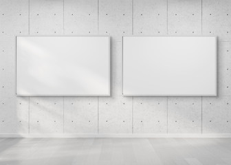 Two horizontal frames hanging on a wall mockup 3d rendering