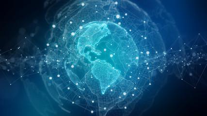 Global network blue background 3D rendering