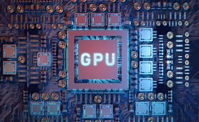 Close-up view of a modern GPU card with circuit 3D rendering