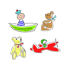 doodle toys, vector sketch of toys, simple children's drawing toys, bear, sailor, plane, set of cartoon toys, bright vector illustration isolated on white background