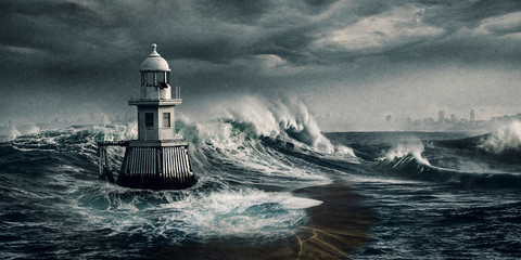 Storm, Sydney, Lighthouse, artwork