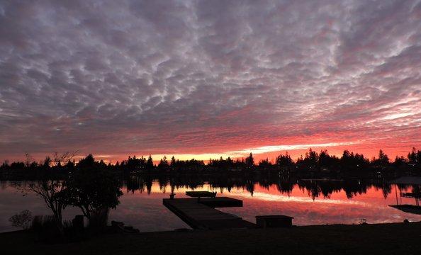 Intense Sunset on Lake Mreidian in Kent Washington 1