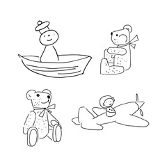 doodle toys, toys simple coloring page, children's drawing toys, bear, sailor, plane, set of cartoon toys, black and white linear vector illustration isolated on white background