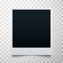 Black empty realistic photo frame on transparent background. Polaroid border or instant photo template.