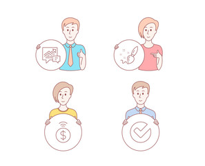 People hand drawn style. Set of Paint brush, Accounting and Contactless payment icons. Verify sign. Creativity, Supply and demand, Financial payment. Selected choice.  Character hold circle button