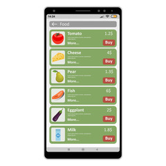 Buying food online using a phone on a white background.