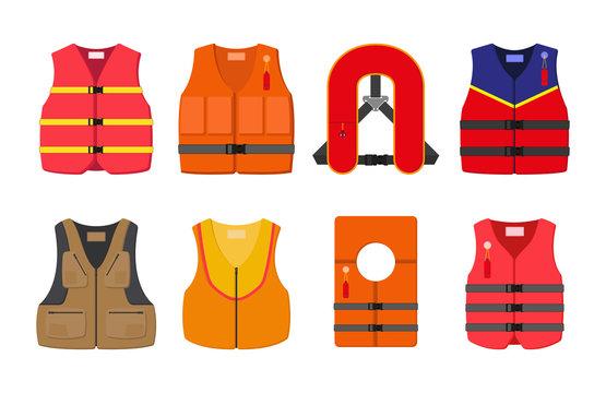 et of 8 life jackets. vector illustration