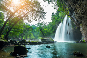 Wall Murals Waterfalls Beauty in nature, amazing waterfall at tropical forest of national park, Thailand. Haew Suwat waterfall.