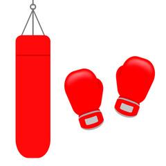 サンドバッグとボクシンググローブ