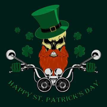 Vector image of a skull with a beard and mustache driving a motorcycle. Congratulations on the day of St. Patrick.