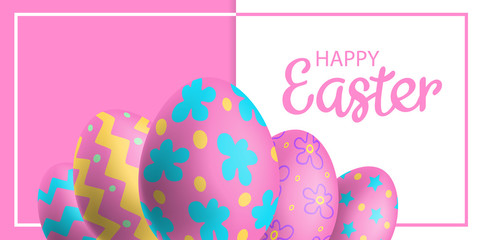 happy easter background with 3d decorated eggs