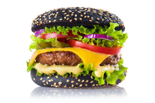 Delicious black burger, isolated on white background