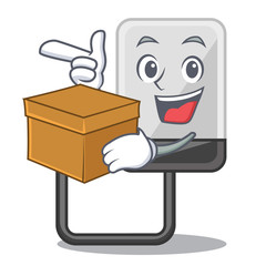 With box hasrd cartoon drive on wooden table