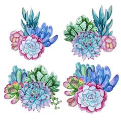 Watercolor handpainted succulent plant composition.