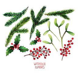 Watercolor illustration. Different elements for Christmas design, fir branches, mistletoe, red berries