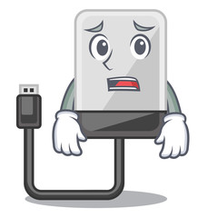 Afraid hard drive isolated on the characters