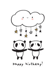 Cute pandas with  happy clouds and stars. Greeting birthday card. Vector Illustration.