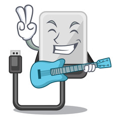 With guitar hard drive isolated on the characters