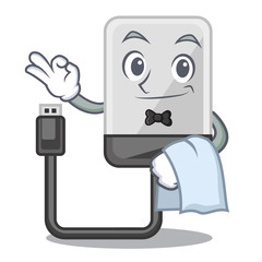 Waiter hard drive isolated on the characters