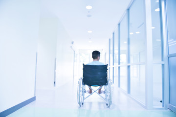 Picture of Beckberg, sick child on wheel chair in hospital