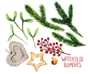 Watercolor illustration. Different elements for Christmas design, fir branches, red berries, star, bells,toy heart,mistletoe