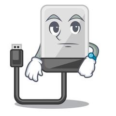 Waiting cartoon hard drive in the bag