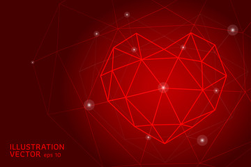 Abstract polygonal heart. Valentine's day. Consists of points, lines, on red background. All in a single layer. Vector illustration.