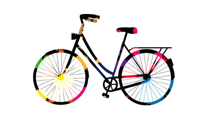 Painted Bicycle With Colored Blobs - Vector Illustration - Isolated On White Background